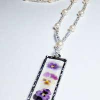 3 Pansy Pendant and Freshwater Pearl Beaded Necklace