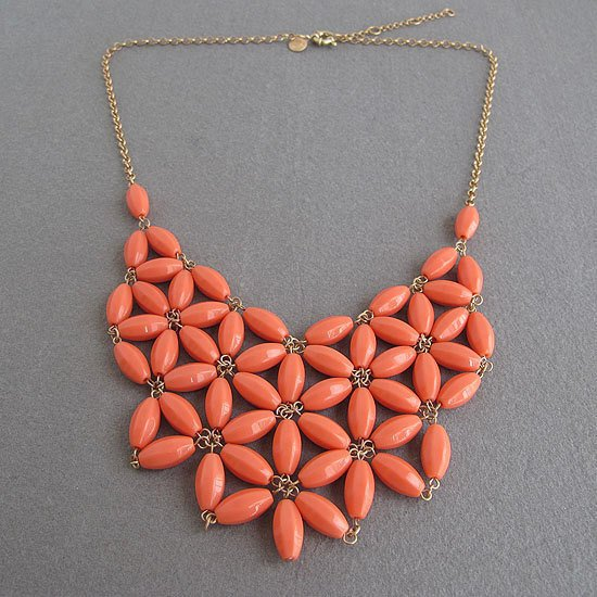 Orange Bib Necklace,Chunky Necklace.. on Luulla