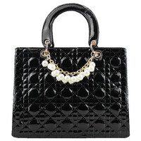 Pearls Detail Black Handbag [ABX0004] - $72.99 :