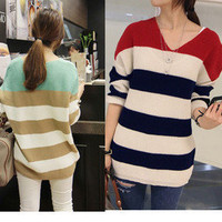 Stripes V-neck Loose Knitted Knit Knitting Sweater Pullover Jumpers Tops Women