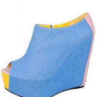 BLUE FUN COLORBLOCKED WEDGE @ KiwiLook fashion