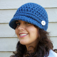 Crochet Newsboy Hat- Denim Blue