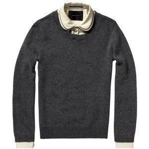 Knitted sweater with removable zip-trimmed collar