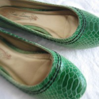 Poetic Lisence green snake embossed leather ballet flats shoes