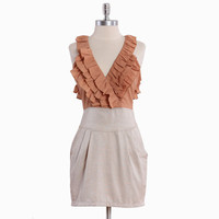 debonair wear ruffle dress in rust - $38.99 : ShopRuche.com, Vintage Inspired Clothing, Affordable Clothes, Eco friendly Fashion
