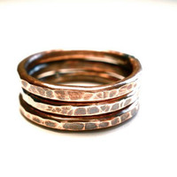 Copper Stacking Ring Set- 3 Thick Textured and Oxidized Bands in Any Size