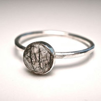 Tourmalinated Quartz Stacking Ring in Any Size