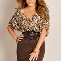 Brown Cheetah Print Oversized Tee Belted Waist Cocktail Dress