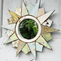 Sunburst Circular Mirror Reclaimed Wood Art