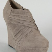 Bamboo Ceasar-98 Pleated Platform Wedge Bootie