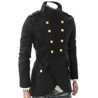 Doublju Mens Casual Double Breasted Half Coat (GA11)