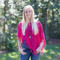 Ponchos:  Pink  Tassel  Poncho  From  Natural  Life