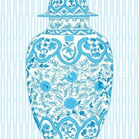 Ming Chinoiserie Ginger Jar in Aqua 13x19 Giclee by thepinkpagoda