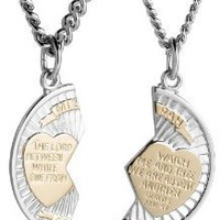"Sterling Silver and Stainless Steel Mizpah Medal Necklace, 20"" and 24"": Jewelry"