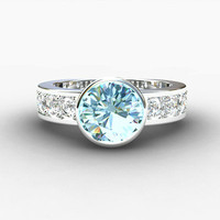 Aquamarine Ring, White Gold, Blue, Sapphire ring, Solitaire, Bezel, Aquamarine engagement, Wedding ring, Unique, Aquamarine