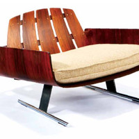 Almond Hartzog - Jorge Zalszupin Lounge Chair with assocatied Ottoman
