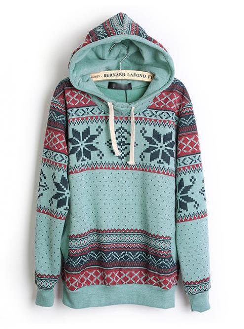 Hooded Geometric Blue Sweatshirts$42.00