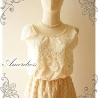 FREE SHIPPING -Amor Vintage Inspired Shoulder Bow Cream Tulle Sleeveless Whimsical Lace Swing Mini Dress -Size S-M-