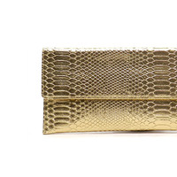 Gold Snake Print Clutch - One