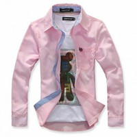 New Korea Fashion All- Match Pink Embroidery Long Sleeve Men Cotton T-Shirt@dat265p