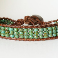Single Wrap Bracelet - Chan Luu Inspired, 6/0 Turquoise Picasso TOHO Glass Seed Beads