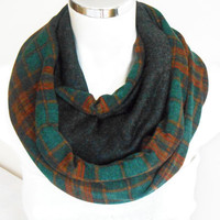 Men's scarf, Plaid men scarf, Green scarf, Unisex scarf, Alloy Orange Brown scarf, Male loop scarf, Winter scarf men, Men infinity scarf