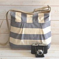 NEW- 35  oz canvas cotton lining Diaper bag/Cross body bag  STOCKHOLM Gray  and Ecru Stripes Pleated French Messenger bag - 10 Pockets