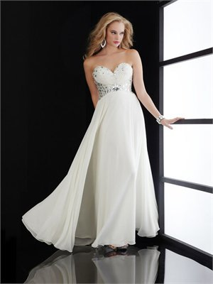 Sweetheart Column open back white Long with Sequins Prom Dress PD0813