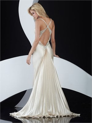 Spaghetti Strap Column crossing back white Long with Sequins Prom Dress PD0830