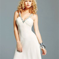 v-neck A-Line white Mini with Sequins Prom Dress PD0888