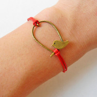 Jewelry bangle bird bracelet ropes bracelet women bracelet girls bracelet made of red ropes and bronze bird bracelet cuff  SH-1468