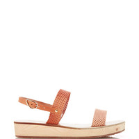 Ancient Greek Sandals Clio Perforated Leather Wedge Sandals Natural