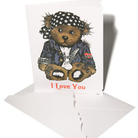 Lauren Moshi I love you' Rocker Teddy Greeting Card White One