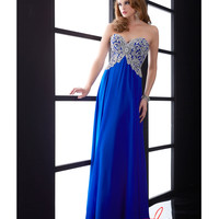 Jasz Couture Royal Chiffon & Beaded Corset Bodice Gown Prom 2015