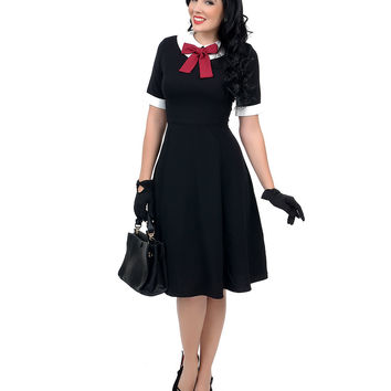 1950s Style Black Short Sleeve Kim Swing Dress