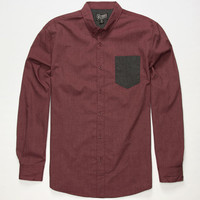 Retrofit Edward Mens Shirt Burgundy  In Sizes
