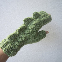 Monster, dinosaur, dragon fingerless gloves. Pure wool, adult&#x27;s/ teens