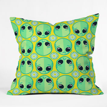 Chobopop Sad Alien And Daisy Pattern Throw Pillow - Indoor /