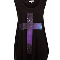 Black Cosmic Cross Print Tank Top