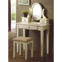 3 pc Ivory finish wood make up bedroom vanity set with stool and 3 drawers- Poundex-For the Home-Bathroom Furniture-Bathroom Benches, Stools & Chairs