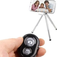 InnoGear Bluetooth Wireless Remote Control Camera Shutter Release Self Timer for Iphone 5 5s 5c 4s 4, Ipad 5 4 3 Ipad Air Mini, Samsung Galaxy S4 S3 Note 3 2, Kindle Fire, Android Phone (Black)
