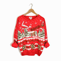 Vintage Ugly Christmas Sweater Reindeer Sweatshirt in Red - medium
