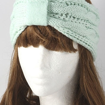 Cable Knit Knotted Ear Warmer - Mint, Peach or Black