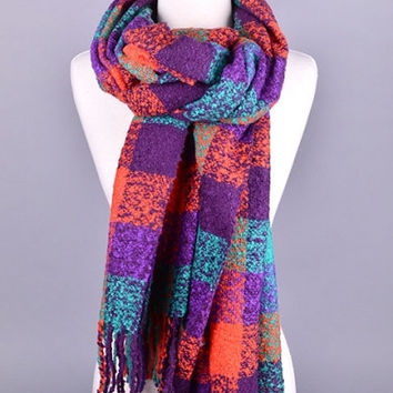 Bright Plaid Cozy Scarf - Purple/Multi