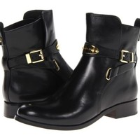Michael Kors MK Gold Logo ARLEY Black Ankle Flat Boots Bootie Shoes 5 5.5 NIB