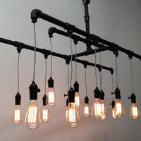 Industrial pipe pendant edison chandelier