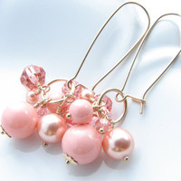 Peach pink gold dangle earrings grapefruit pink glass beaded dangle earrings