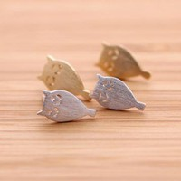 tiny OWL stud earrings in silver  by bythecoco on Zibbet