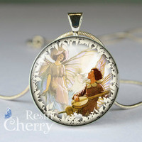 Fairies Midst Sweet Peas resin pendants,lover pendant charms- D1515CP