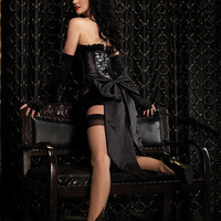 (Leg Avenue): GRACE CORSET,ZIPPER FRONT SATIN CORSET (86333).